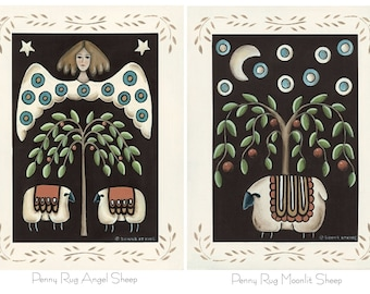 Penny Rug Print. Choose Angel & Sheep or Moonlit Sheep. Country cottage, primitive folk art by Donna Atkins