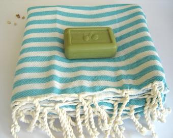 Turkish Towel, Peshtemal, Beach towel, bath towel, hammam towel, yoga, Spa, Sarong, Pareo, Aqua Striped
