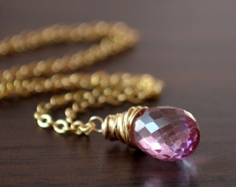 Real Pink Topaz Necklace, Gold Filled, Wire Wrapped Pendant, Mystic Semiprecious Gemstone Jewelry, Orchid Teardrop, Free Shipping