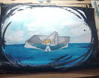 "ORIGINAL acrylic painting on canvas - ""Sorrow"""