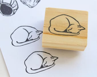 sleeping kitty rubber stamp / cat stamp