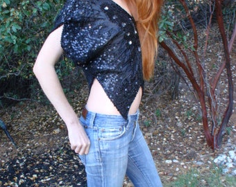 Vintage Black Sequin Butterfly Top