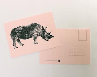 Map rhino, greeting card, postcard, postcard