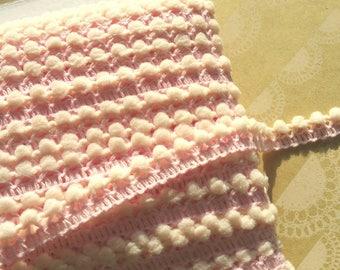"LIGHT PINK Mini Pom Pom Trim - Sewing Crafting Baby Poms Poms - Mini Fringe - 3/8"" Wide"