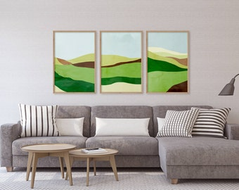 Modern Art Prints Set of 3, Green Abstract Art, Art Prints Large, Wall Art Set, Modern Abstract Art, Mid Century Modern, Abstract Landscapes