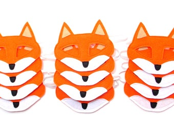 Fox Masks - Party Pack - 12 Masks - Kid's Mask - Fox - Mask - Dress Up - Play - Costume - Party Favor - Dress Up - Halloween - Woodland