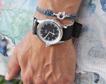 Bracelet for Men - Cord Bracelet for Men - Men's Naval Bracelet - Sterling Silver Men's Bracelet - Blue cord bracelet for men - Adjustable