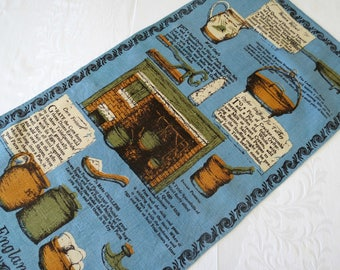 Collectible Vintage Tea Towel by Luther Travis, Early New England Cookery, All Linen Kitchen Towel, Vintage Linens
