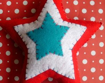 Star Pillow Home Decor Red White Blue Plush Plusie Ooak Gift USA Decorative Pillow