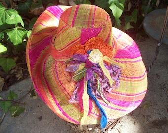 Summer Swirl Linen Straw Hat with Handmade Corsage
