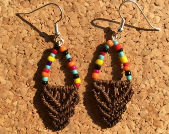 Multicolored and Brown Macrame earrings