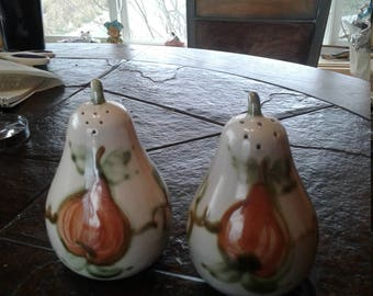 Vintage pear shaped salt and pepper shakers.