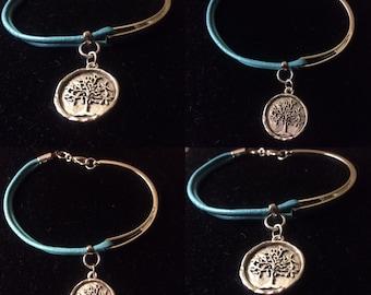 Tree of Life Aqua Leather Half Bracelet