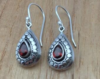 Garnet Teardrop Earrings // 925 Sterling Silver // Hypoallergenic // Hook Backing // Bali Silver