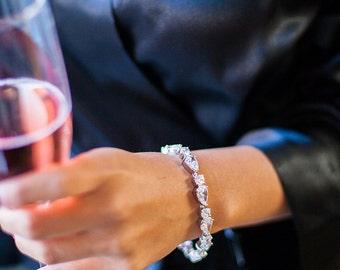 Bridal Bracelet Silver with Teardrop Cubic Zirconia Rhodium Plated Bracelet