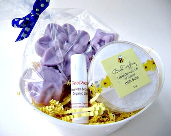 Gift Spa Set Mothers Day Gift Basket, Organic Lavender, Spa Gift, Spa Kit, Spa Gift Basket, Organic Spa Box, Organic Skin Care, Shower Gift