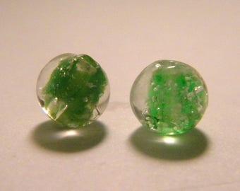 3 phorphorescente phosphorescent hand - made lampwork glass beads 8mm - Green-PE256