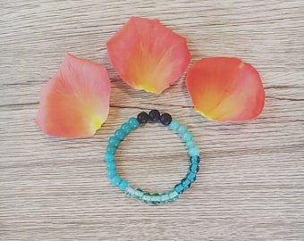Blue Glass Vesuvius Lava Bracelet