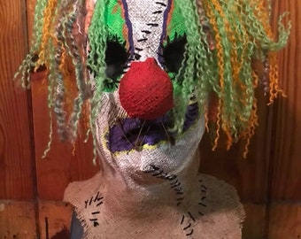 Stitches burlap clown mask