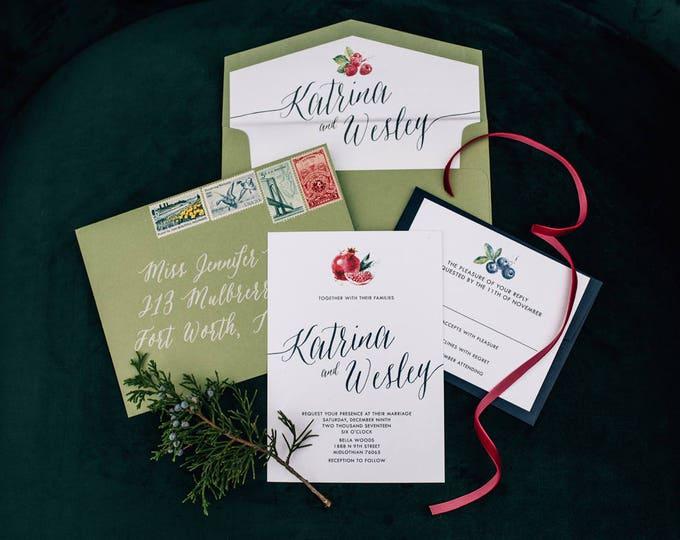 Green & Navy Blue Winter Fruit Pomegranate Blackberries Strawberries Wedding Invitation, Includes Envelope Liner and RSVP