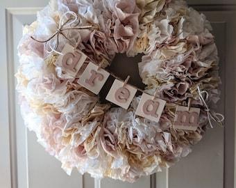 "Coffee Filter Wreath - Shabby Chic 24"""