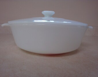 Vintage Fire King White Milk Glass Casserole Dish with Lid