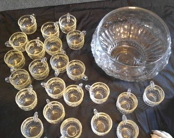 1960's jeanette punch bowl with 24 cups....