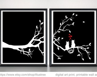 Cats on tree digital art print set, 2 printable wall art, unique wedding gift, gift for couples, anniversary, 5x7, 10x8, 14x11, download