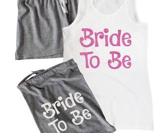 Bride To Be Glittery Pyjama Set & Bag