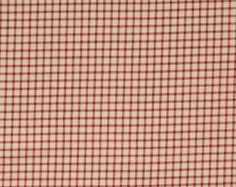 Windowpane Plaid Flannel, Red on Cream, 1 yard