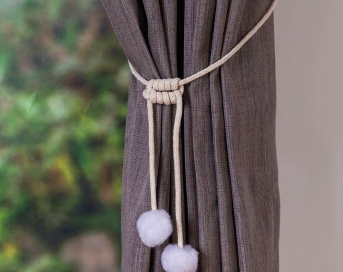 Handmade snow ball white pom pom curtain tiebacks Christmas gift seasonal decor hold backs pom-pom natural cotton cord  nursery nautical