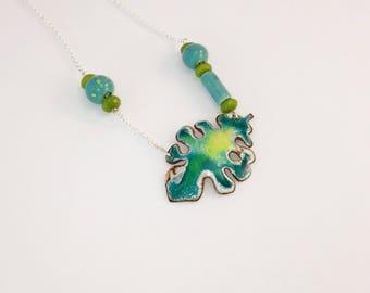 Mediterranean summer leaf enamel necklace