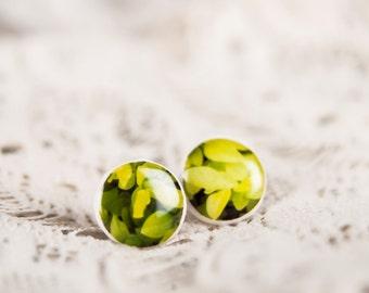 Flora Green Grass Stud Earings, Casual Earrings For Men, Mens Earrings, Everyday Earrings, Nature Earrings
