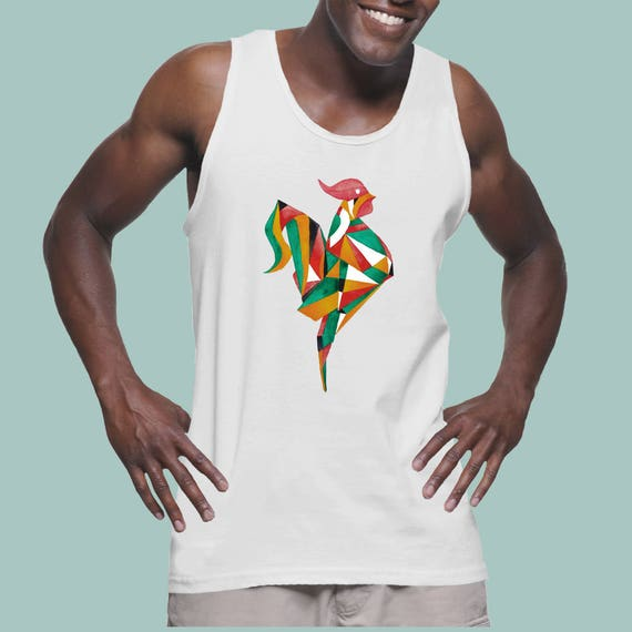Origami Rooster| American Apparel Fine Jersey Unisex Graphic Tank Top | Original Artwork | Watercolor art | Bachelor party
