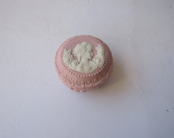 Vintage Pink Covered Bisque Porcelain Trinket Box with Cameo of Lady and Flowers  2838