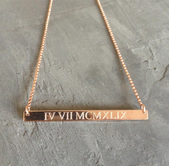 Roman numeral necklace rose gold bar necklace gold aloadofball Image collections