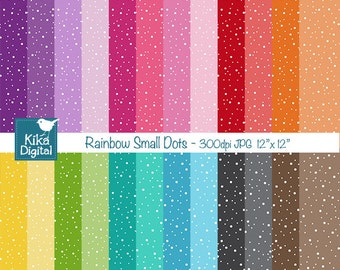 Colorful  Small Dots Digital Papers - Colorful Scrapbook Papers - card design, invitations, background, paper crafts - INSTANT DOWNLOAD