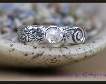 Bezel Set Engagement Ring - Sterling Silver Sapphire Engagement Ring - Flower Promise Ring - Spiral Ring - White Sapphire Ring - Size 6.5