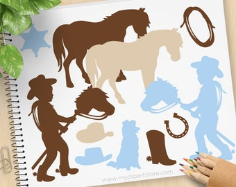 Little Cowboy Clipart, Silhouette, wild west, western, stamps, stick horse, toy pony, baby, Commercial Use, Vector clip art, SVG Files