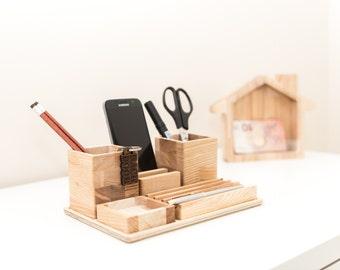 Desk Organizer - Wood Desk Gift - Desk Organizer For Him - Desk Gift Men - Wooden Desk Organizer - Desk Organizer For Men - Father Gift Wood