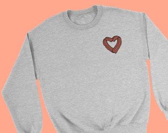 Bacon Heart Sweater - Funny I Love Bacon Jumper Design - Quirky Funny Sweatshirt - Bacon Lover Gift Idea - Fry Up Bacon Sandwich Fun Jumper