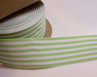 Light Green and White Striped Grosgrain Ribbon 1 1/2 inches wide x 10 yards, Candy Stripes