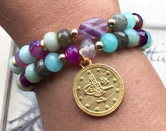 Gemstone Bracelet Set, Boho Bracelet, Amethyst Bracelet, Statement Bracelet, Stretchy Bracelet, Coin Charm Bracelet, Festival Bracelet