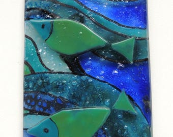 Fused glass wall plaque,painted fused plaque,blue sea waves with swimming fishes, wall art plaque,wall art glass panel