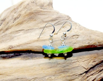 Sea Glass Earrings, Sea Glass Jewelry, Sea Glass Gift, Mothers Day Gift, Gift For Mom, Lake Bottle Earrings, Pierced Earrings, Gift For Her