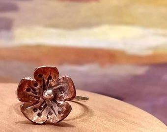 Bohemian Jewelry.. Copper Flower Ring..Sterling Silver Ring..Nature Jewelry..Flower Jewelry..Flower Ring..Copper and Silver Flower Ring.