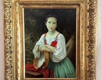 Vente ancien Français Style peinture à l'huile Portrait d'une femme Bohème Art européen signé encadrée