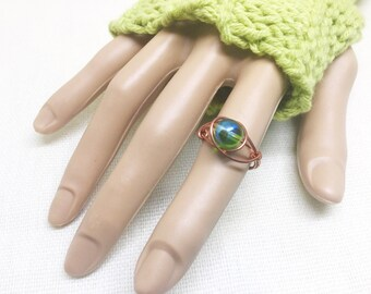 Copper ring, size 6, bright green