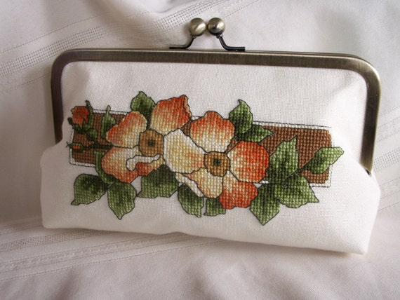 Hand embroidered clutch. Orange, coral, cream wild roses. CAROLS ROSE by Lella Rae on Etsy