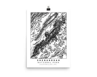 Shenandoah National Park Topographic Map Art Poster